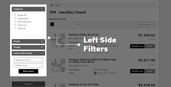 Left Hand Search Result Filtering Feature